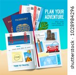 stylish trip banner with opened ... | Shutterstock .eps vector #1028984296