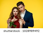 elegant man and tender woman ... | Shutterstock . vector #1028989492