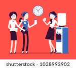 office cooler chat. young... | Shutterstock .eps vector #1028993902