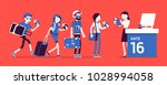 air flight check queue. airport ... | Shutterstock .eps vector #1028994058