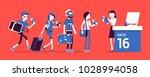 air flight check queue. airport ... | Shutterstock .eps vector #1028994058