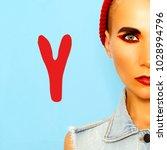tomboy girl. fashion make up.... | Shutterstock . vector #1028994796