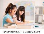 asian teenage classmates... | Shutterstock . vector #1028995195