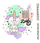 baby shower card with cute... | Shutterstock .eps vector #1028999902