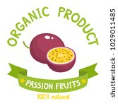 healthy organic fruits badge of ... | Shutterstock .eps vector #1029011485