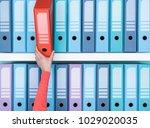 office worker finding a folder... | Shutterstock . vector #1029020035