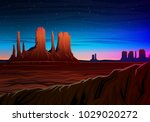 mountain and monument valley ... | Shutterstock .eps vector #1029020272