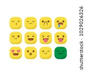 unique round emoji emoticon... | Shutterstock .eps vector #1029026326