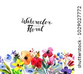 watercolor floral background.... | Shutterstock . vector #1029027772
