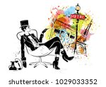 fashion girl in sketch style.... | Shutterstock . vector #1029033352