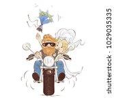wedding bikers   vector... | Shutterstock .eps vector #1029035335