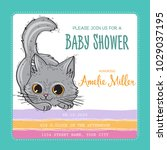 baby shower card template with... | Shutterstock .eps vector #1029037195