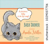 baby shower card template with...   Shutterstock .eps vector #1029037756