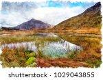 watercolour painting of llyn... | Shutterstock . vector #1029043855