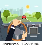man hands of a driver on... | Shutterstock .eps vector #1029044806