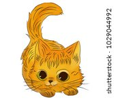 watercolor kitten isolated on...   Shutterstock .eps vector #1029044992