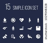 set of 15 bodybuilding icons... | Shutterstock . vector #1029048328