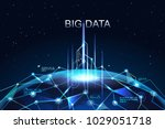 big data network concept.... | Shutterstock .eps vector #1029051718