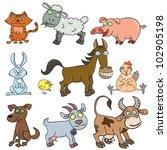 cartoon hand drawn farm animals ... | Shutterstock .eps vector #102905198