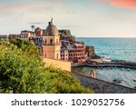 one of the five towns that make ... | Shutterstock . vector #1029052756
