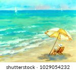 woman is resting on the beach...   Shutterstock . vector #1029054232