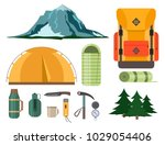 hiking camping equipment vector ... | Shutterstock .eps vector #1029054406