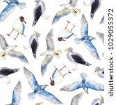 watercolor seagulls in hand... | Shutterstock . vector #1029055372