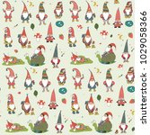 fairytale fantastic gnome dwarf ... | Shutterstock .eps vector #1029058366