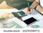 business woman hand working... | Shutterstock . vector #1029058972