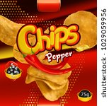 potato chips. pepper flavor....   Shutterstock .eps vector #1029059956