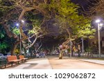 Night view of boulevard Rothschild  in Tel Aviv, Israel.