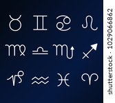 set of zodiac icons on dark... | Shutterstock .eps vector #1029066862