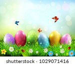 easter greeting card with... | Shutterstock . vector #1029071416