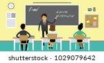 students and teacher in... | Shutterstock .eps vector #1029079642