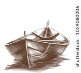 wooden boat floating on water... | Shutterstock .eps vector #1029080206