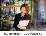 portrait woman checklist on... | Shutterstock . vector #1029080662