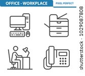 office   workplace icons.... | Shutterstock .eps vector #1029087808