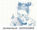 blue pen sketch on square grid...   Shutterstock .eps vector #1029102805