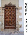 ancient engraved wooden  doors... | Shutterstock . vector #1029103282