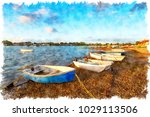 watercolour painting of boats...   Shutterstock . vector #1029113506