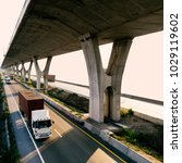 Small photo of Truck on highway road container, transportation concept.,import,export logistic industrial Transporting Land transport on the expressway