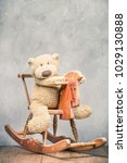 teddy bear toy sitting on old... | Shutterstock . vector #1029130888