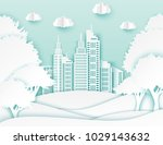 white paper skyscrapers and... | Shutterstock .eps vector #1029143632