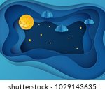 paper art moon  fluffy clouds...