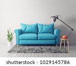 modern living room  with blue... | Shutterstock . vector #1029145786