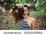 young beautiful woman take a... | Shutterstock . vector #1029145846