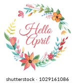 wreath of colorful wildflower... | Shutterstock . vector #1029161086