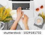 young woman freelancer working... | Shutterstock . vector #1029181732