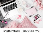 fashion blogger workspace with... | Shutterstock . vector #1029181792