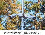 cctv security camera with green ... | Shutterstock . vector #1029195172
